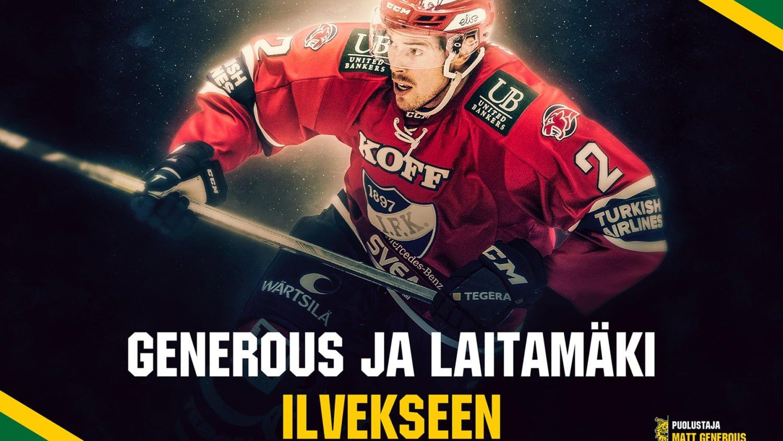 Matt Generous ja Elias Laitamäki Ilvekseen • Tampereen Ilves